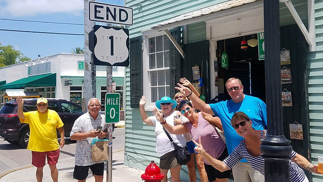 Tour Group from Marathon at Mile Marker Zero in Key West