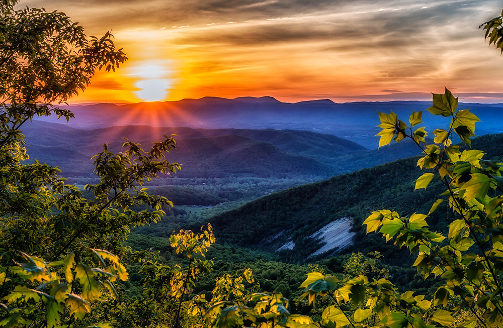 Sunset in Blue Ridge Mountains of the Great Smoky Mountains