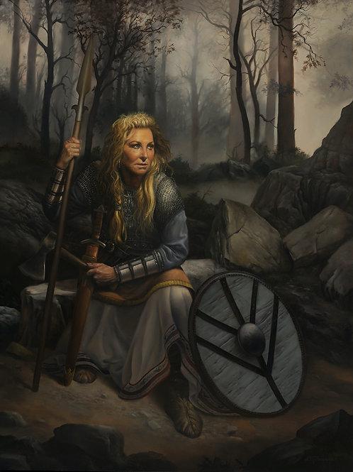 Lisa, The Shield Maiden 24 x 18, oil on wood panel Fashion Week Award ,Art Renew