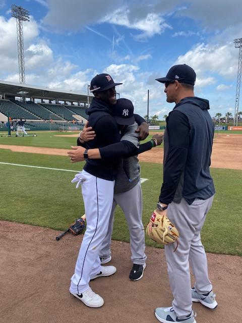 Cameron Maybin Hugging Yankees