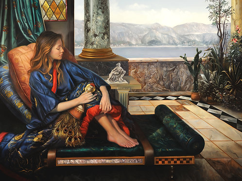 The Girl in the Blue Kimono II, 17 x 22, oil on linen over wood