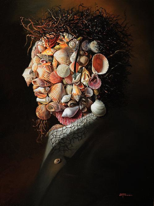 Shell Man II, 16 x 20, Oil on masonite