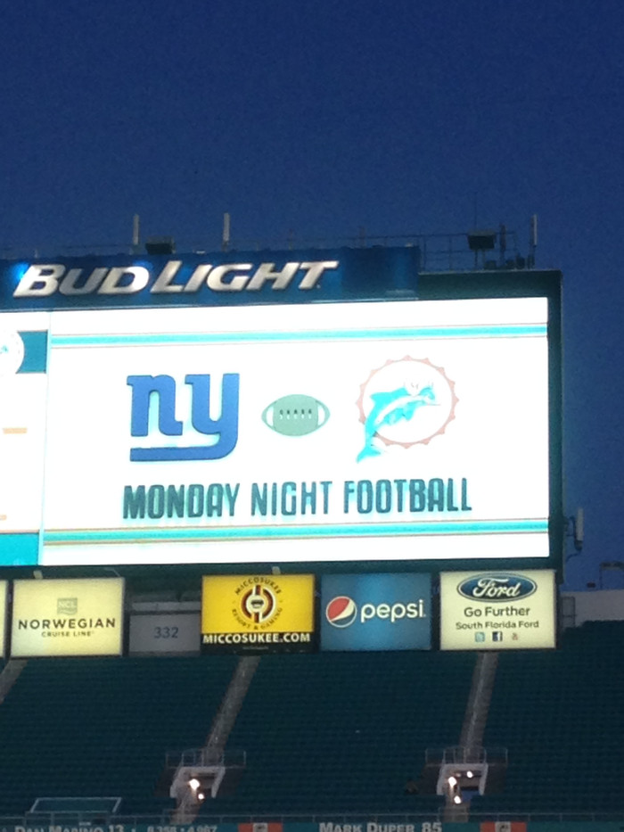 Giants vs. Dolphins Monday Night Footbal