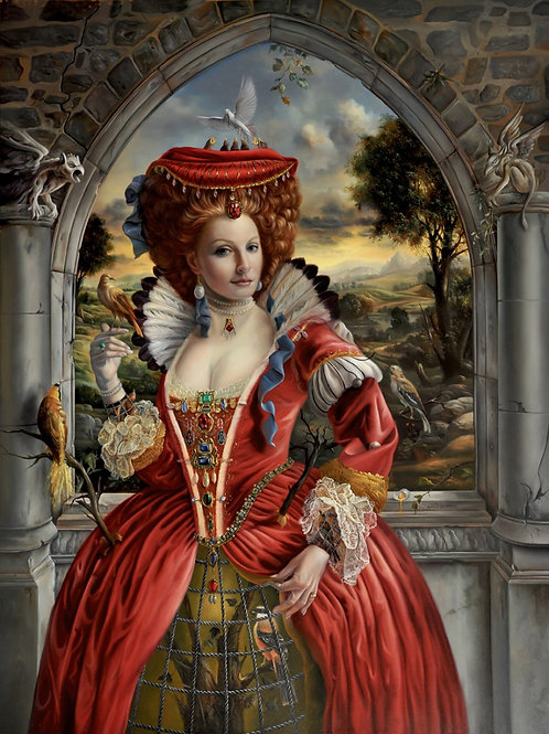The Birdkeeper in the Red Dress 24 x 18 oil on panel