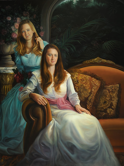 The Rooney Granddaughters, 36 x 30, oil on Belgian linen