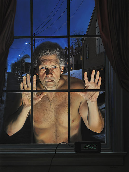 The Observer (self portrait), 25 x 18 1/2, oil on masonite, 2011