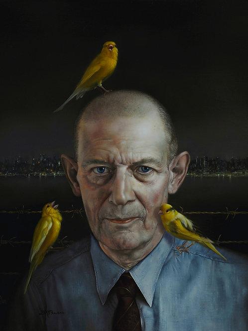 Robert Stroud (Birdman of Alcatraz) 18 x 14, oil on Belgian linen