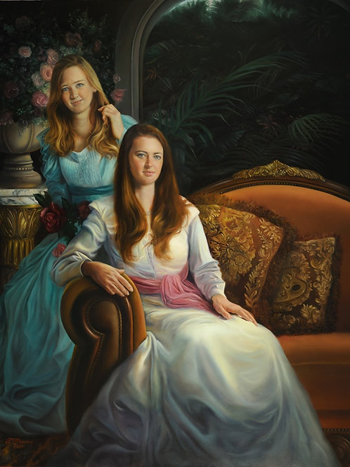 The Rooney Girls 36 x 30 oil on panel