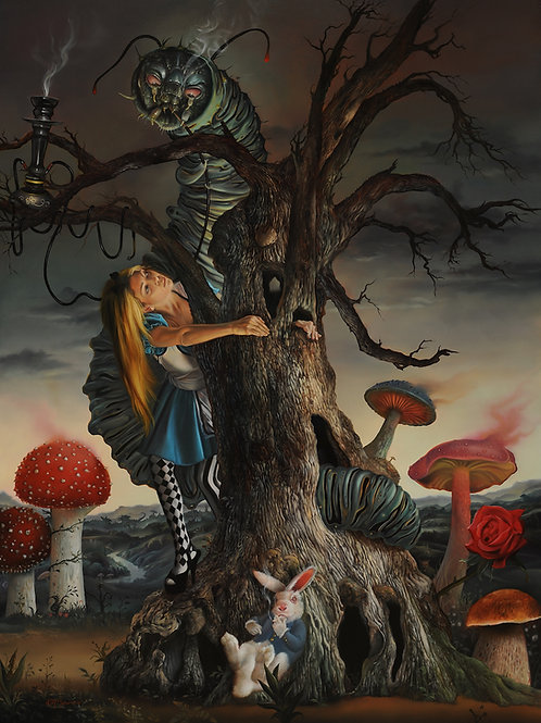 Alice and the poison Mushrooms, 22 1_2 x 16 1_2, oil on wood