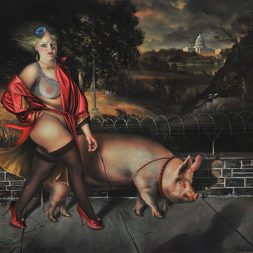 Pig Walker III, 22 x 24, oil on linen, 2013