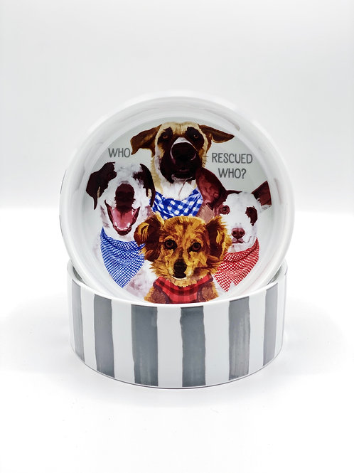 Who Rescued Who Dog Bowl