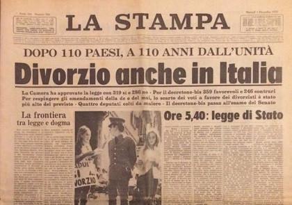 1 dicembre 1970: 50 anni fa, la legge italiana sul divorzio