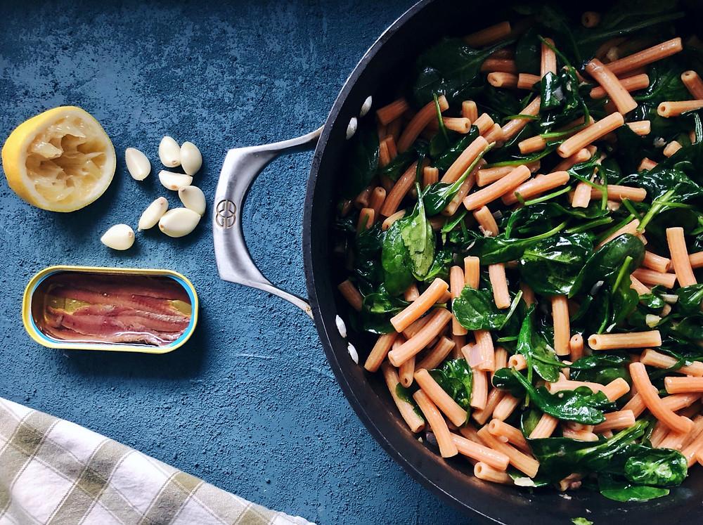 Lemons, garlic, anchovies, pasta, spinach
