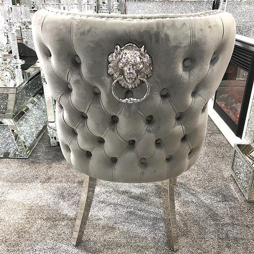 Valentino Grey Velvet Chrome Leg Lion Knocker Dining Chair