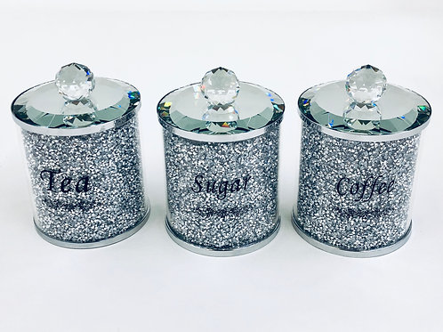 Glitter Tea Sugar Coffee Crushed Diamond Mirrored Set