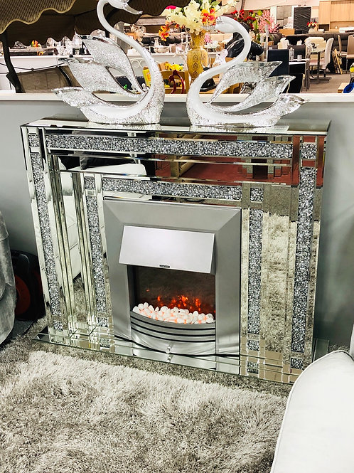 Crushed Diamond Mirrored  Fireplace with Electric Heater (SF449)