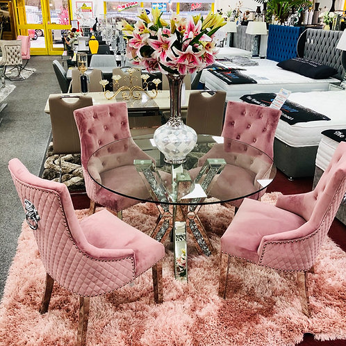 Crushed Diamond Mirrored Round Dining Table with  4 Pink Lion Knocker