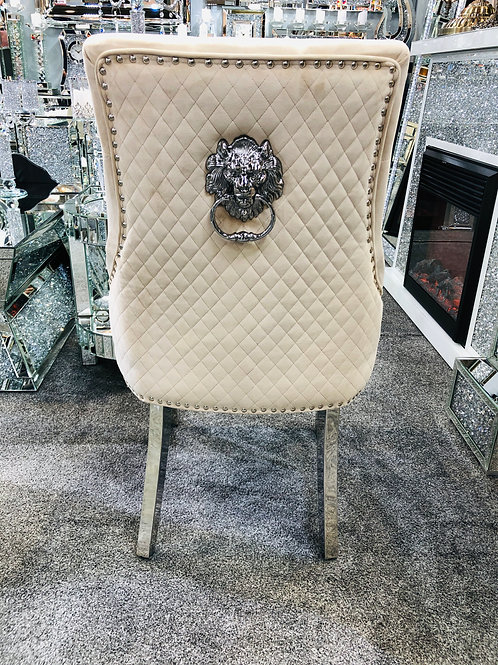 Majestic Mink Fabric  Dining Chair with Lion Knocker