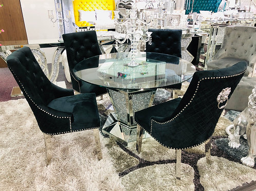 Crushed Diamond Mirrored Round Dining Set