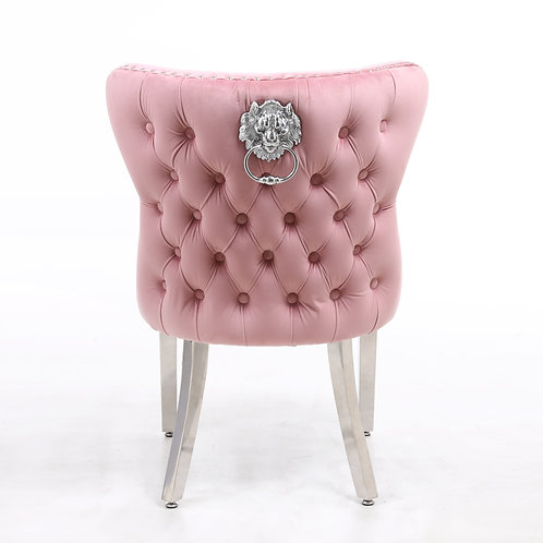 Valentino Pink Velvet Chrome Leg Lion Knocker Dining Chair