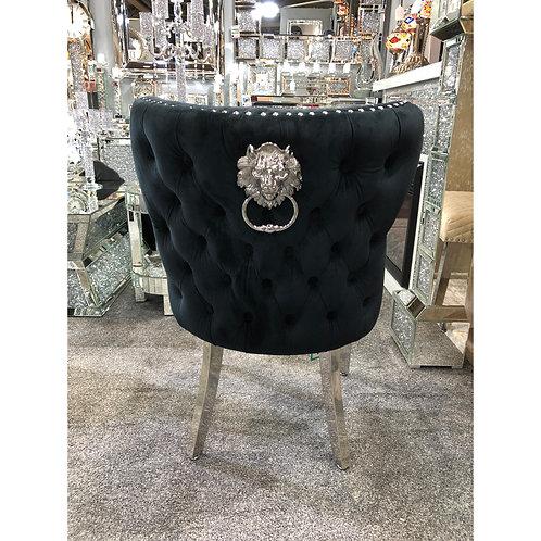 Valentino Black Velvet Chrome Leg Lion Knocker Dining Chair