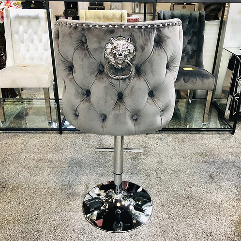 Valentino Grey Lion Knocker Quilted Front Tufted back Plush Velvet Bar Stool
