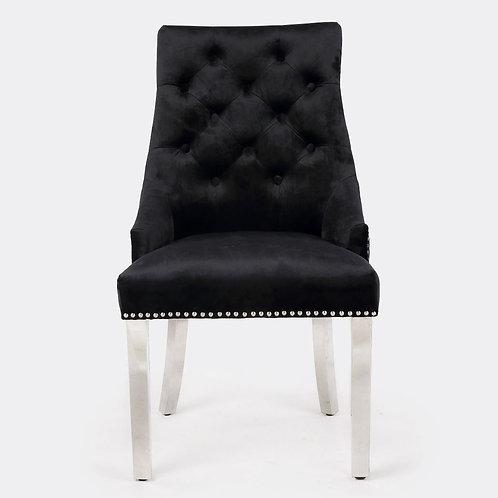 Majestic Black Lion Knocker Back Dining Chair