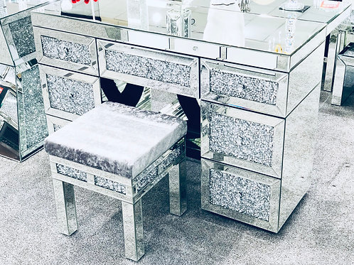 Crushed Diamond Mirrored Double Dresser with stool