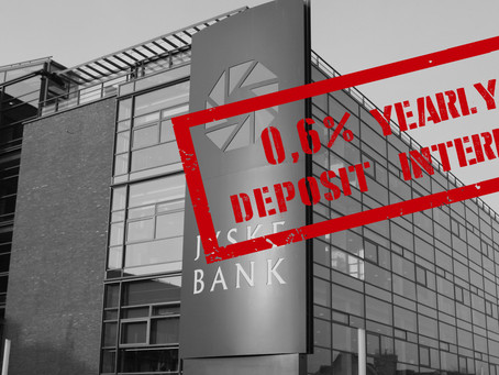 Denmark 2nd biggest bank Jyske Bank, charges 0.6% deposit yearly interest