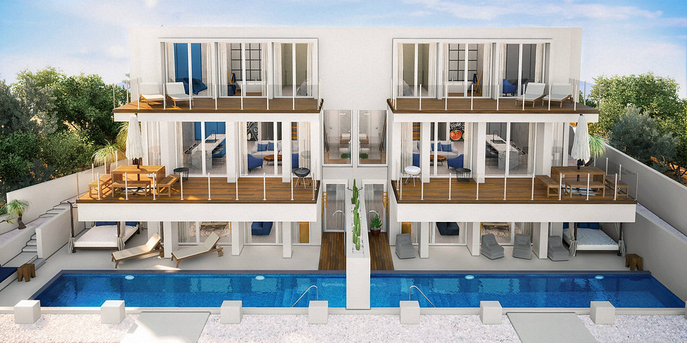 3D visualization of Avitan Villas Blue and Avitan Villas Graphite. White modern duplex with private pools and modern interiors visible through open windows. The villas are corroded by the cactus wall.