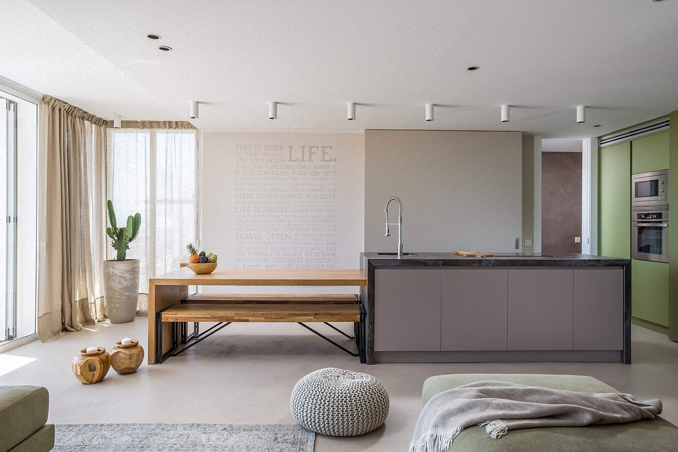 Beautiful kitchen of Avitan Villa with modern gray and light green furniture and a wooden table for 6 people. There are light beige curtains on the windows. In the corner of the table is a large modern cactus pot.