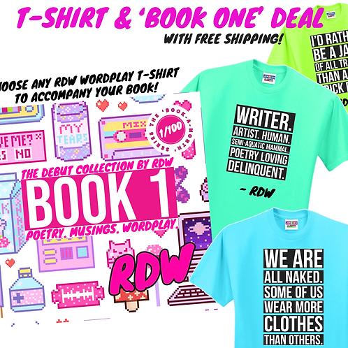 BOOK ONE & T-SHIRT DEAL