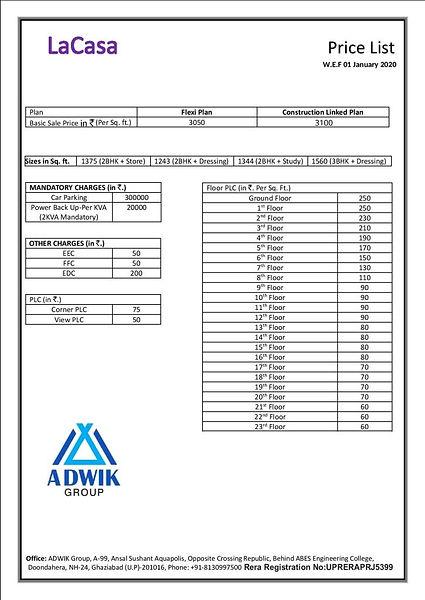 La Casa Price List W.E.F 1st Jan 2020-pa