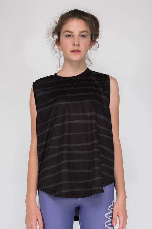 Short black striped top