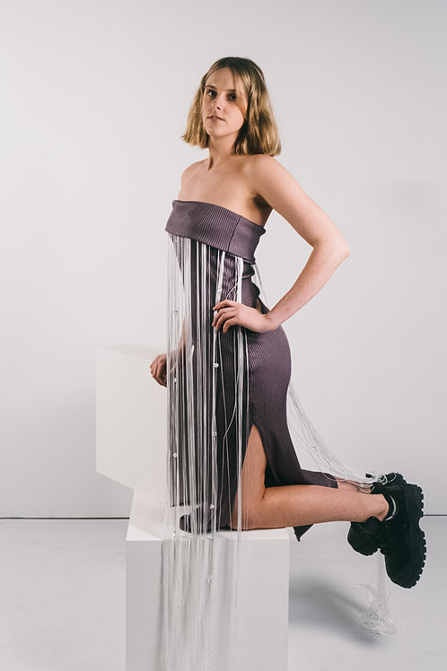 Fringed Bodycon Gown