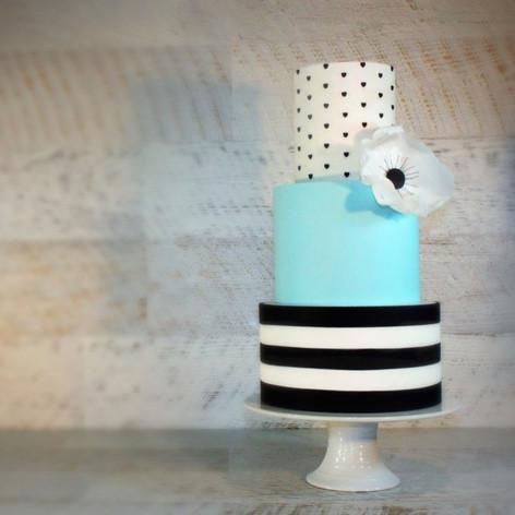 White, Black and Blue wedding Cake