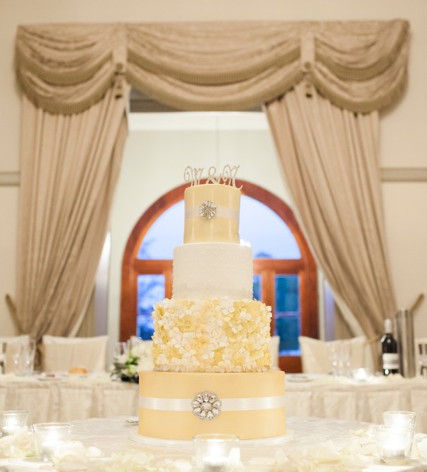 White and Gold hydrangea wedding cake