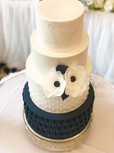 4 Tier Wedding Cake with Deep Blue Base