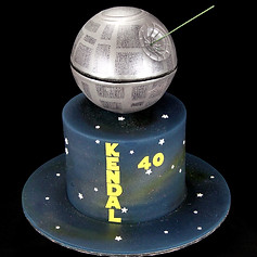 Death Star cake with laser beam