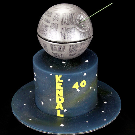 Death Star cake with laser beam