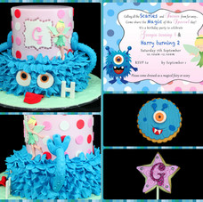 Monster and Fairy cake with matching biscuits