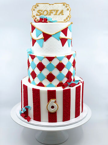 Circus Cake with Gold Accents