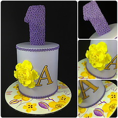 Floral 1st birthday cake
