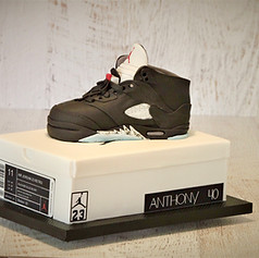 Nike sneaker and shoebox cake