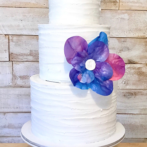 White Buttercream Cake with Wafer Paper flower