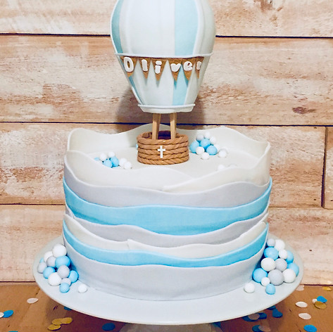 Wave Christening cake with Hot-air balloon