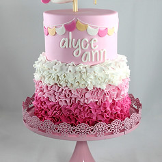 Ombre Ruffle with Bunting and bird topper Christening Cake