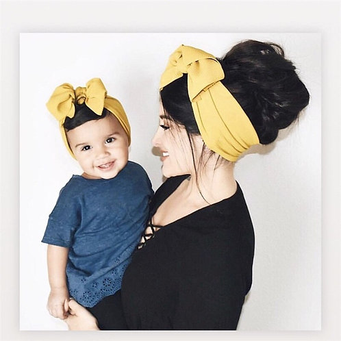 Baby and Mom Textured Headwrap Pre-Tied Headwrap, Super Soft and Stretchy