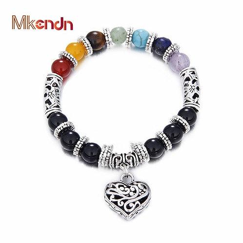 7 Chakra Bracelet, Chakra Pray Mala Heart Charm Bracelet Jewelry