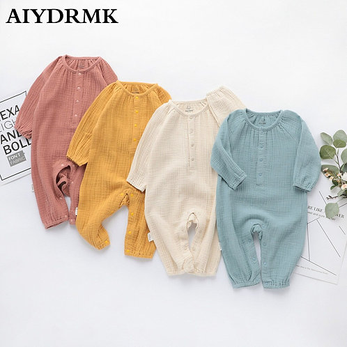 Organic Cotton Baby Clothes Linen Boy Baby Clothes Long Sleeve Toddler Romper
